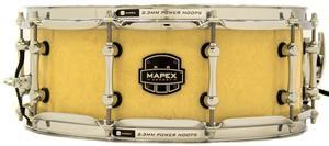 "Caixa Mapex Armory Peacemaker Maple Walnut Antique Ivory Figured Wood 14x5,5"" com Aros Power Hoop"