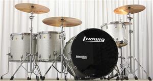 "Bateria Ludwig Classic Maple Zep Set John Bonham Silver Sparkle 26"",14"",16"",18"" (Seminova) Made USA"