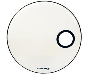 """Pele Aquarian Ported Bass White 22"""" Resposta de Bumbo (Similar Ambassador e EQ1 Resonant) SMPTCC22W"""
