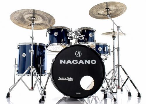 """Bateria Nagano Garage Rock Blue Night 22"""",10"""",12"""",16"""" com Peles Hidráulicas e Banco"""