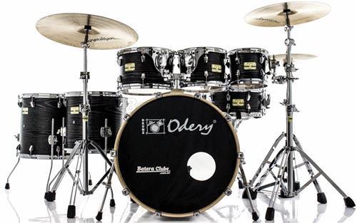 "Bateria Odery Fluence Jam Session FL.200 Black Ash Maple 20"",8"",10"",12"",14"",16"" com Kit de Ferragens"