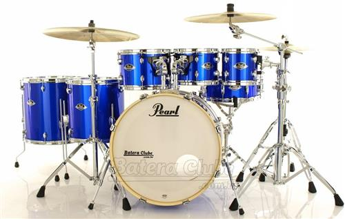 "Bateria Pearl Export EXX Series Mahogany High Voltage Blue 20"",8"",10"",12"",14"",16"" + Ferragens 830"