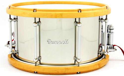 """Caixa Dunnett Stainless Steel Shell Hard Maple Wood Hoops 14x8"""" Made in Canada US$ 699 (Acervo)"""