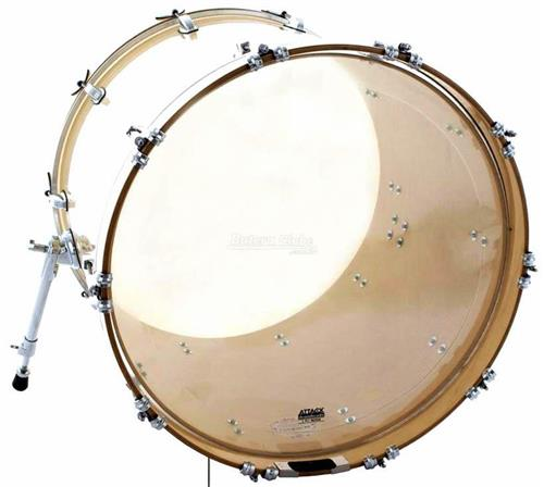 "Pele Attack Drumheads 2-Ply Medium Clear Bass 22"" Filme Duplo de Bumbo DH22 com Borda Tone Ridge"