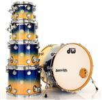 "Bateria DW Collectors Exotic Royal Blue to Natural Fade Over Curly Maple 22"",10"",12"",14"",16"""