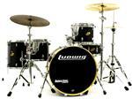 "Bateria Ludwig Accent CS Birch Black Satin Rock Set 22"",12"",13"",16"" com Caixa e Ferragens"