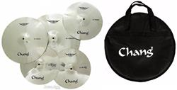 Kit de Pratos Chang Armor Series Zinc-Nickel Alloy com Crashes 14 e 16, Ride 18 e Chimbal 13 + Bag