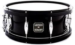 "Caixa Gretsch Full Range Maple Wood Hoop Piano Black 14x5,5"" com Aros de Madeira"