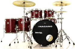 "Bateria Nagano Concert Full Celluloid Birch Red Abalone 22"",10"",12"",14"",16"" com Kit de Ferragens"