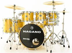 "Bateria Nagano Concert Full Lacquer Birch Natural Gold 22"",8"",10"",12"",14"",16"" com Kit de Ferragens"