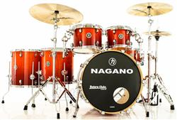 "Bateria Nagano Concert Full Lacquer Birch Smoke Red 22"",10"",12"",14"",16"" com Ferragens"