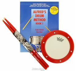 Kit de Estudo Remo HK0006SK Alfred Drum Practice Pad Baqueta Vic Firth, Pad de Estudo e Livro 10384