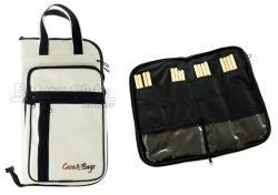 Bag de Baquetas Case & Bags Branco em Eco Couro Sintético Tamanho Extra Grande Padrão Top de Linha
