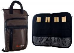 Bag de Baquetas Case & Bags Marrom em Eco Couro Sintético Tamanho Extra Grande Padrão Top de Linha