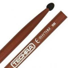 Baqueta Techra E-Rhythm 5B Fibra de Carbono Italiana Ponta de Borracha Ideal para bateria eletrônica