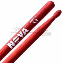 """Baqueta Vic Firth Nova Series Hickory Red """"Padrão 5B"""" Vermelha com Ponta de Madeira (7369)"""