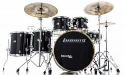 "Bateria Ludwig Element Evolution Black Sparkle 22"",10"",12"",14"",16"" com Ferragens e Banco"