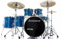 "Bateria Ludwig Element Evolution Blue Sparkle 22"",10"",12"",14"",16"" com Ferragens e Banco"