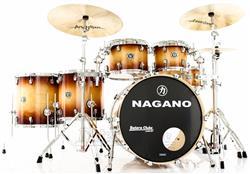 "Bateria Nagano Concert Full Lacquer Birch Gold Burst 22"",10"",12"",14"",16"" com Kit de Ferragens"