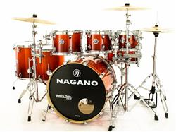 "Bateria Nagano Concert Full Lacquer Birch Smoke Red 22"",8"",10"",12"",14"",16"" com Ferragens"