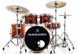 """Bateria Nagano Concert Lacquer Birch Smoke Red 20"""",10"""",12"""",14"""" com Kit de Ferragens"""
