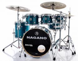 "Bateria Nagano Concert Lacquer Deep Blue 20"",8"",10"",12"",14"" com Kit de Ferragens"