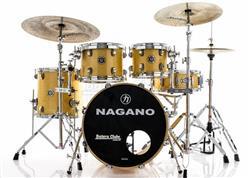"Bateria Nagano Concert Lacquer Natural Birch 20"",10"",12"",14"" com Kit de Ferragens"