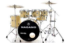 """Bateria Nagano Garage Fusion Natural Ivory 20"""",8"""",10"""",12"""",14"""" com Peles Hidráulicas e Banco"""