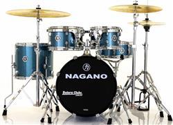 "Bateria Nagano Garage Gig Ocean Sparkle Bumbo 18"",10"",12"",14"" Kit de Ferragens e Peles Hidráulicas"
