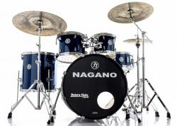 "Bateria Nagano Garage Rock Blue Night 22"",10"",12"",16"" com Peles Hidráulicas e Banco"