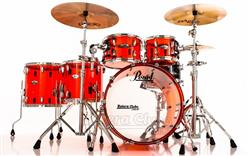 "Bateria Pearl Crystal Beat Ruby Red com Bumbo 22"", Tons 10"", 12"" e Surdos 14"" e 16"" (Shell Pack)"