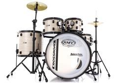 "Bateria RMV Cross Road Fiber Full Bianco Wood 22"",10"",12"",16"" com Pratos, Ferragens e Banco"