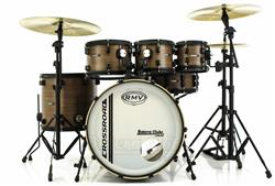 "Bateria RMV Cross Road Fiber Brown Wood 22"",8"",10"",12"",16"" com Ferragens e 2 Estantes de Prato"