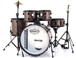 "Bateria RMV Cross Road Fiber Full Brown Wood 20"",10"",12"",16"" com Pratos, Ferragens e Banco"