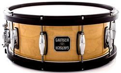 "Caixa Gretsch Full Range Maple Wood Hoop Natural Gloss 14x5,5"" com Aros de Madeira"