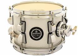 """Caixa Nagano Snare Series Micro New Beat Grey Sparkle 8x6"""" com Caneca e Clamp Holder para Fixação"""