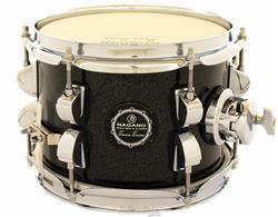 """Caixa Nagano Snare Series Micro New Beat Ebony Sparkle 8x6"""" com Caneca e Clamp Holder para Fixação"""