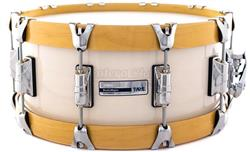 "Caixa Taye Studio Maple Trans White 14x6"" com Aros Wood Hoop 14-Ply"