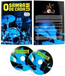 DVD + Livro + CD Samba de Cada Um com Lauro Lellis em um curso completo de Samba na Bateria