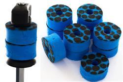 Feltros Rubber Wheel Kit com 10 Feltros (Azul Caveira) para Estante de Prato com 15mm de Espessura