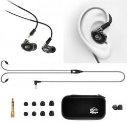Fone de Ouvido Mee Audio MX1 Pro Black In Ear com Cabo Destacável, Bag e Diversos Plugs