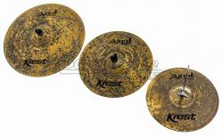 "Kit de Pratos Krest Aged Brass Vintage ABSET4 com Chimbal 13"", Crash 14"", Ride 20"" e Bag"