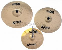"Kit de Pratos Krest Deep Cult com Chimbal 14"", Crash 18"", Ride 20"" e Bag Grátis DCSET1"
