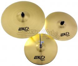"Kit de Pratos Krest Eko ECOSET1 com Chimbal 14"", Crash 16"" e Ride 20"""