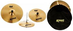"Kit de Pratos Krest TZ Series com Chimbal 14"", Crash 16"", Ride 20"" e Bag TZSET1B"