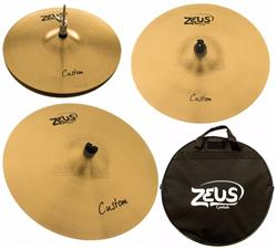 "Kit de Pratos Zeus Custom Set C Traditional com Bag, Crash 16"", Ride 20"", Chimbal 14"" em Bronze B20"
