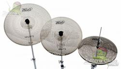 "Kit de Pratos Zeus Mute com Chimbal 14"", Crash 16"" e Ride 20"" e Bag com Volume até 80% Menor"