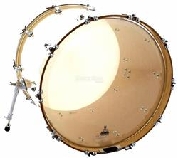 "Pele Attack Drumheads Terry Bozzio Signature Clear 24"" de Bumbo com Muffle Abafador TBNO24"