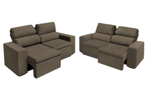 Astonishing Sofa Retratil E Reclinavel 3 2 Lugares Florenca Marrom Evergreenethics Interior Chair Design Evergreenethicsorg