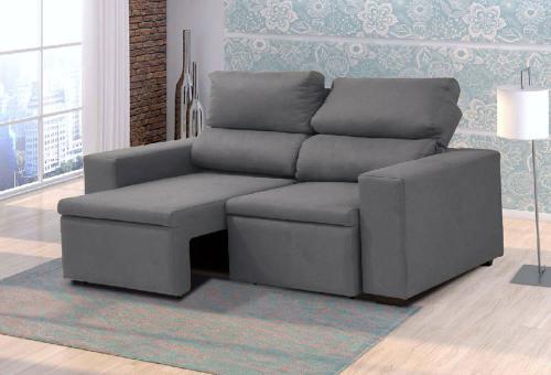 Astonishing Sofa Retratil E Reclinavel 3 Lugares Florenca Cinza Machost Co Dining Chair Design Ideas Machostcouk